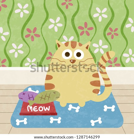 kitty cat with fish in food