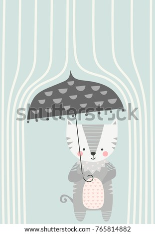 kitty under an umbrella in the