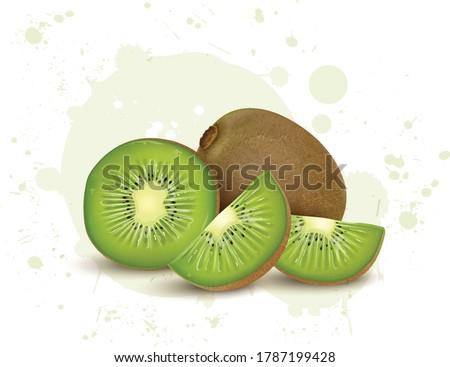 kiwi and kiwi pieces vector illustration on white background Zdjęcia stock ©
