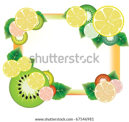 kiwi and lemon fruit slices and green leaves frame