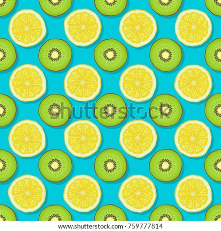 kiwi and lemon seamless pattern on blue background. vector illustration - eps 8