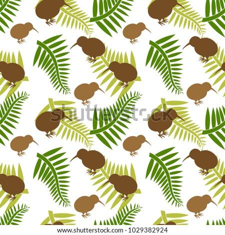kiwi bird and ferns seamless