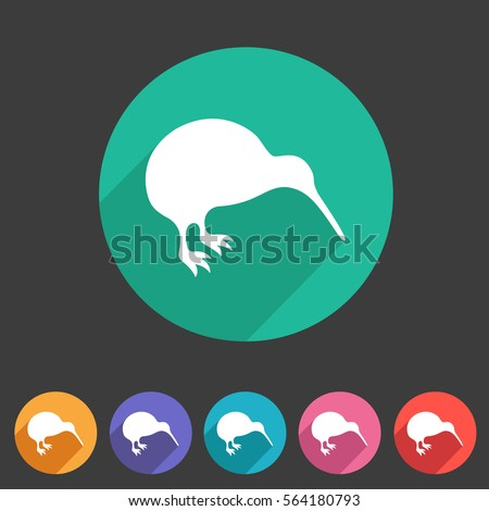 kiwi bird icon flat web sign