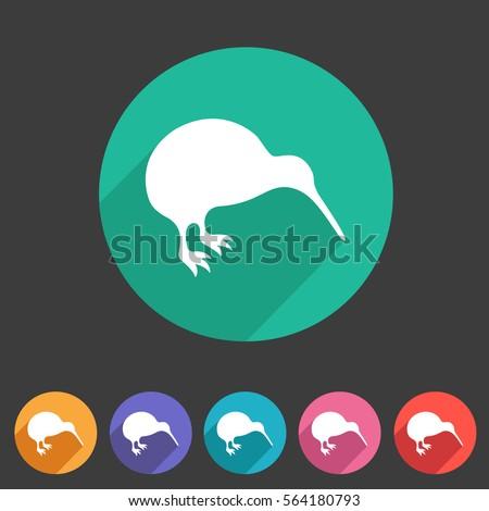 kiwi bird icon flat web sign