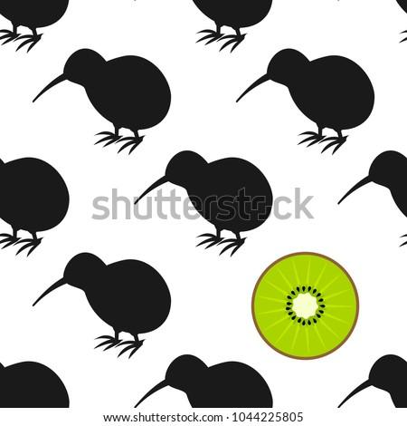 kiwi birds and fruit seamless