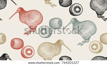 kiwi birds and fruits seamless