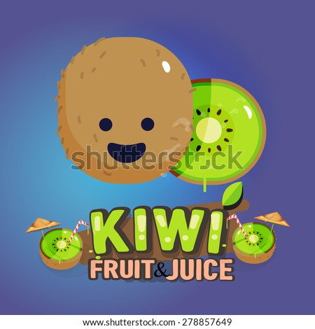kiwi fruit cute character with
