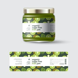 Kiwi Fruit Jam label and packaging. Jar with cap with label. White strip with text and on seamless pattern with fruits, flowers and leaves.