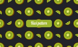 Kiwi fruit pattern on fancy black background created in vector. It can be used for textile clothing or it can be printed on paper. seamless pattern
