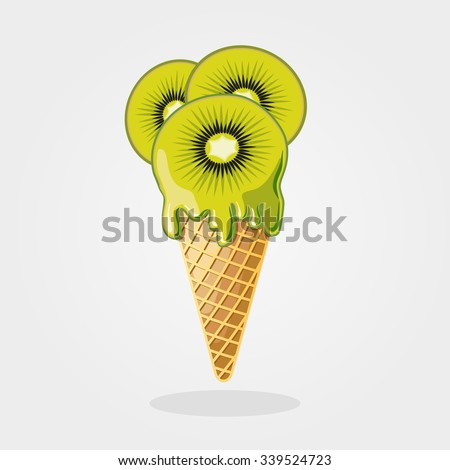 kiwi ice cream vector