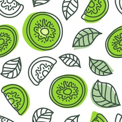 Kiwi seamless pattern. Hand drawn fresh tropical fruit. Vector sketch background. Doodle wallpaper. Green print