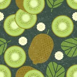 Kiwi seamless pattern. Whole and sliced kiwi fruits with leaves and flowers on shabby background. Original simple flat illustration. Shabby style.