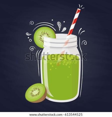 kiwi smoothie vector healthy