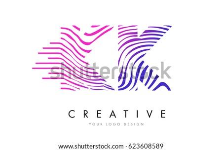 kk k k zebra letter logo design