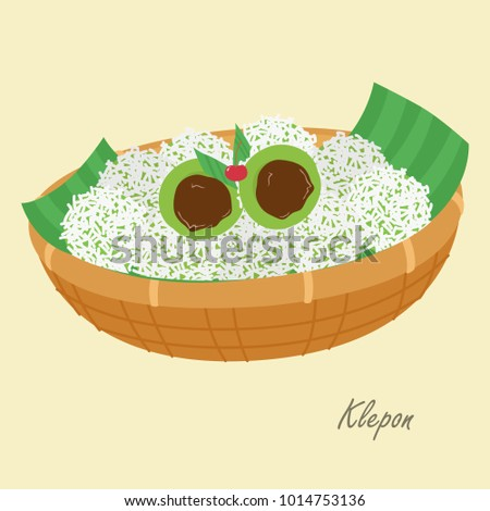 Klepon with grated coconut filled with liquid palm sugar, inside a plait bowl with a banana leaf, Indonesian traditional cake. Indonesian traditional dessert cartoon vector