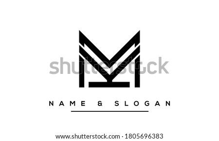 KM, MK, K, M Abstract letters logo monogram Stock fotó ©