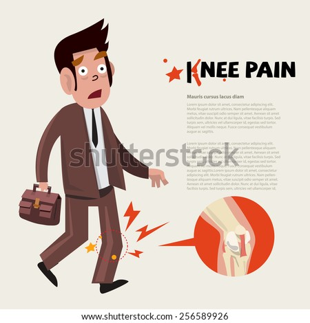 knee pain character   vector