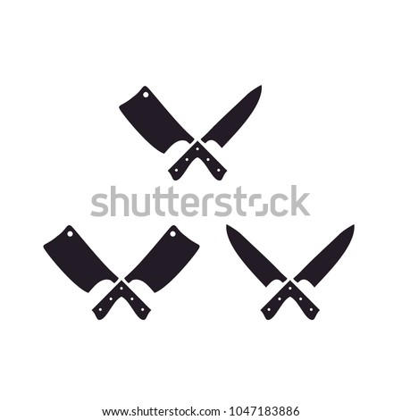 Knife and Cleaver Cross sign for Butcher / Meat Logo Design