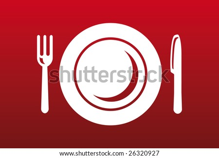 Knife, fork and plate on red background