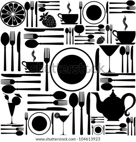 Knife, fork and spoon. Cutlery icon seamless pattern background. vector illustration