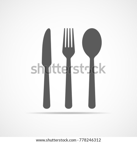Knife, fork and spoon icon in flat design. Vector illustration. Gray restaurant symbol.