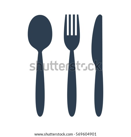 knife  fork and spoon on white