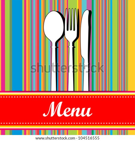 knife, fork and spoon. Restaurant menu design. Vector Illustration