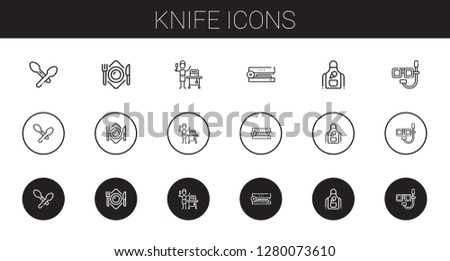 knife icons set. Collection of knife with spoon, plate, food and restaurant, stapler, apron, dive. Editable and scalable knife icons.