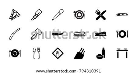 Knife icons. set of 18 editable filled and outline knife icons: plate fork and spoon, cutter, stapler, restaurant