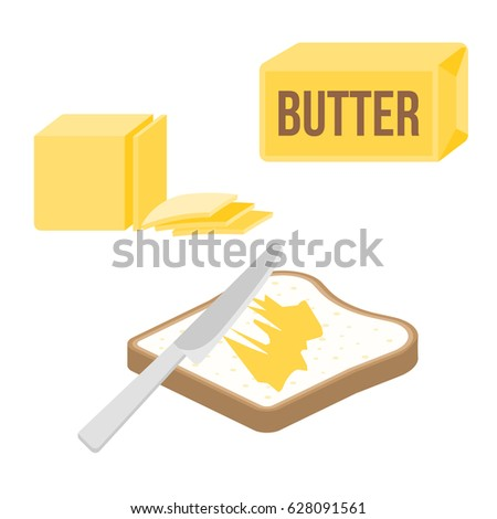 knife spreading butter or margarine on slice of toast bread and bar of butter, flat design vector