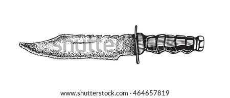 Knife vector illustration in the style of woodcuts. Kitchen knife vector. Hunting knife edged weapons