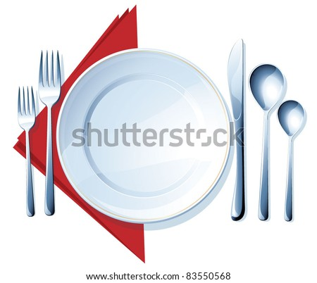 Knife, white plate, spoons and forks on white background. Vector.