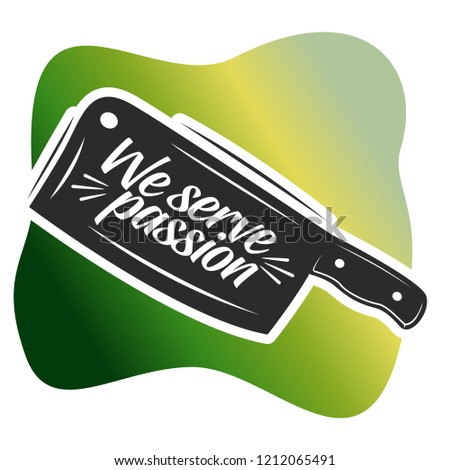 Knife with Catchy Tagline emblem Object Illustration Stock Vector