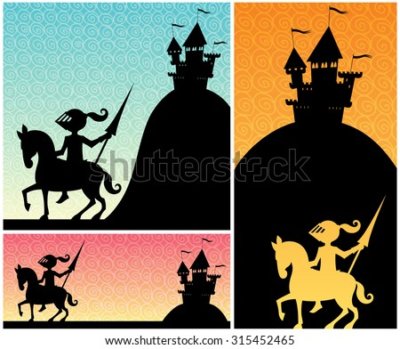 knight backgrounds  set of