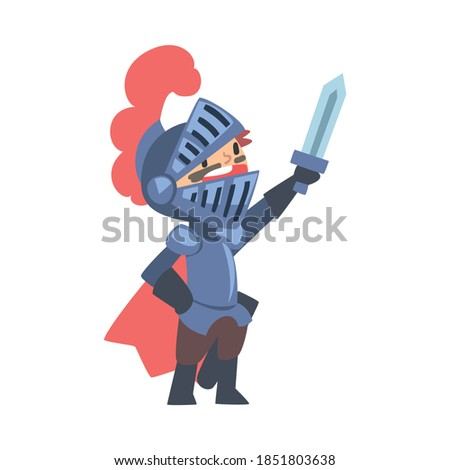 Knight Boy Character in Armour with Sword Cartoon Style Vector Illustration Stock photo ©