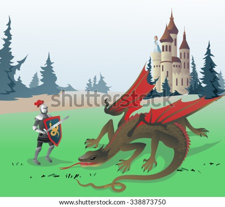knight fighting dragon the