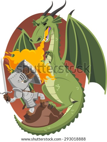 knight fighting fire dragon in