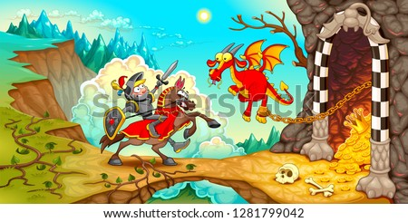 knight fighting the dragon with