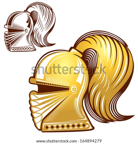knight helmet engraving and gold