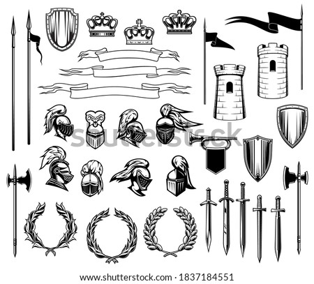 Knight heraldry vector set of medieval shields, royal crowns, knight armors, helmets and swords. Ancient towers, ribbon banners and flags, trumpet and laurel wreath, heraldic emblem or coat of arms ストックフォト ©