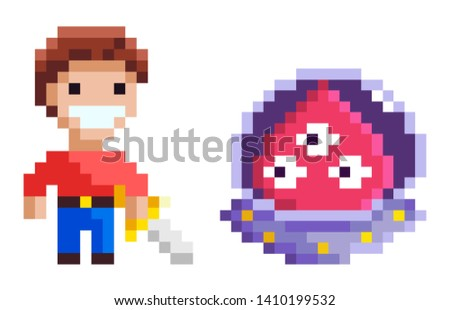 Knight holding steel and ufo characters element of pixel game, monster with eyes and cavalier with galive, geometric adversary, geometric hero vector