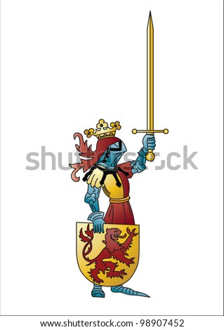 knight in armor with a sword and golden shield with the emblem a red Lion