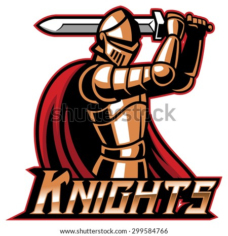 knight mascot with sword