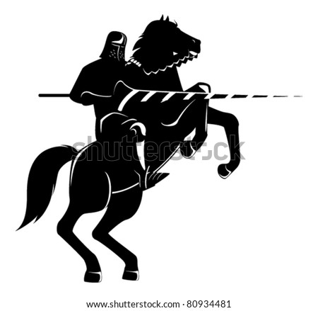 knight on horseback with spear
