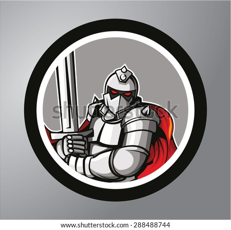 knight warrior circle sticker