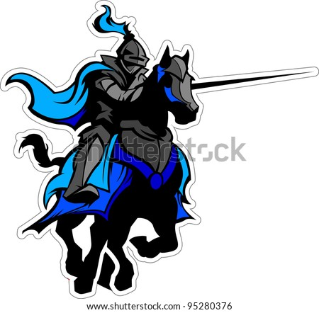 knight with armor riding a