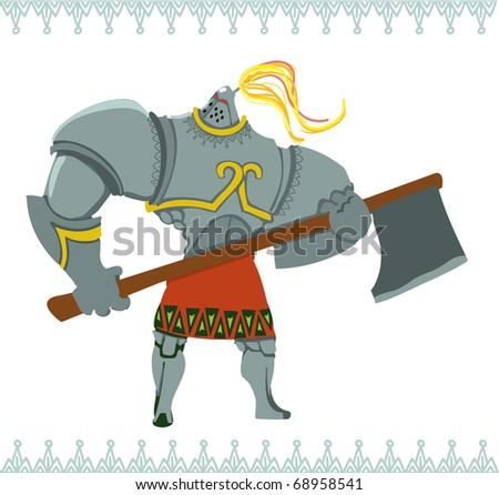 Knight with gray armor supports an big axe of war