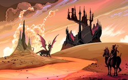 Knight with horse against the dragon. Vector fantasy landscape illustration