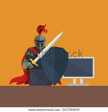 knight with shield protecting