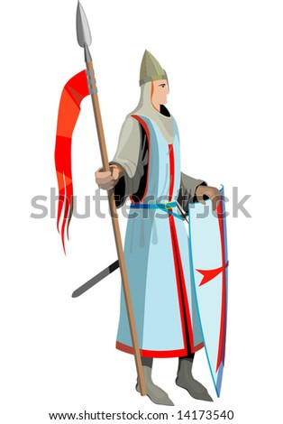 knight with spear Vector illustration - stock vector